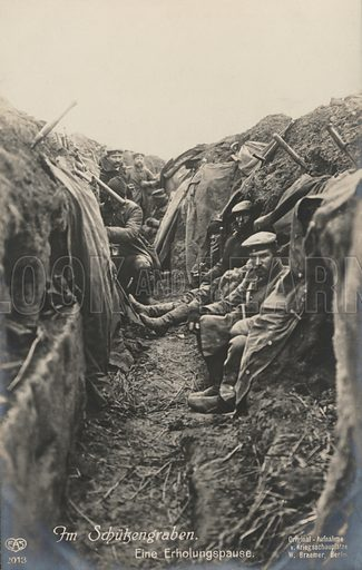 German soldiers taking a break in the trenches, World War I, 1914-1918. Postcard, early 20th century.