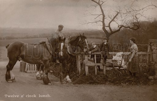 Family in the countryside stopping work for lunch. Postcard, early 20th century.