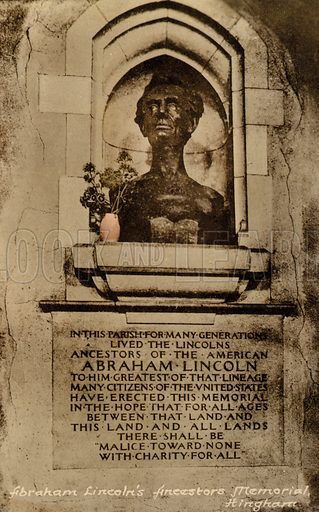 Memorial to the ancestors of US President Abraham Lincoln, Hingham, Norfolk. Postcard, early 20th century.