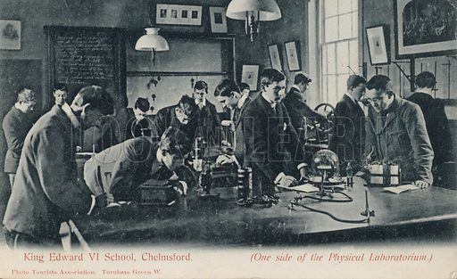 Physics laboratory at the King Edward VI School, Chelmsford, Essex. Postcard, early 20th century.