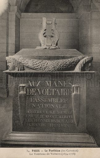 Tomb of  French writer Voltaire (Francois-Marie Arouet) in the Pantheon, Paris, France. Postcard, early 20th century.