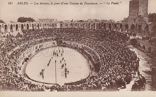 Bull games in the Roman arena of Arles, France. Postcard, early 20th century.