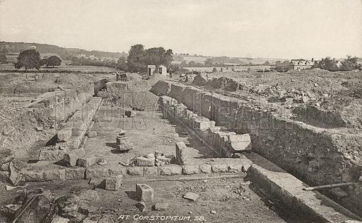 Roman fort and town of Coria (Corbridge), Northumberland. Postcard, early 20th century.