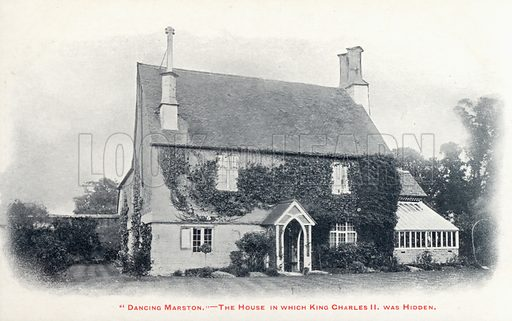 House in the village of Long Marston, Gloucestershire, where King Charles II was hidden after his escape following the defeat of his army at the Battle of Worcester, 1651. Postcard, early 20th century.