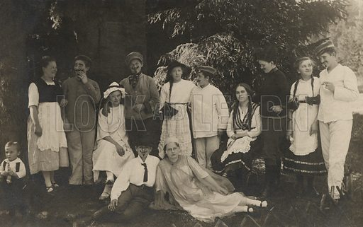 Group portrait of young people in costume. Postcard, early 20th century.