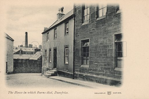House in which Scottish poet Robert Burns died, Dumfries, Scotland. Postcard, early 20th century.
