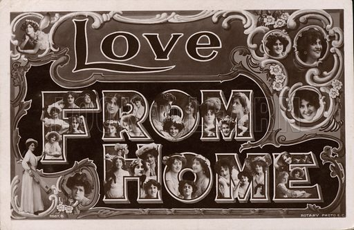 """Love From Home"", greetings card with portraits of women, possibly actresses or singers. Postcard, early 20th century."