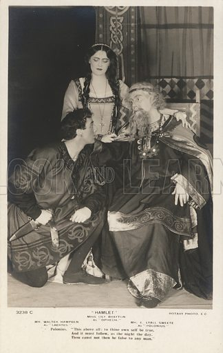 English actors Lily Brayton (Ophelia), Walter Hampden (Laertes) and E Lyall Swete (Polonius) in a production of Shakespeare's Hamlet, 1905. Postcard, early 20th century.