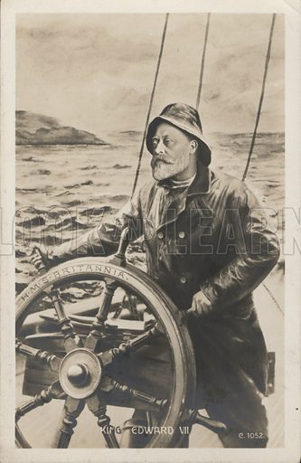 Portrait of King Edward VII at the helm of HMS Britannia. Postcard, early 20th century.