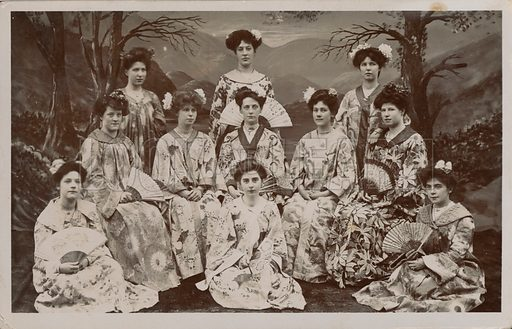 Portrait of a group of Western women dressed in traditional Japanese costume. Postcard, early 20th century.