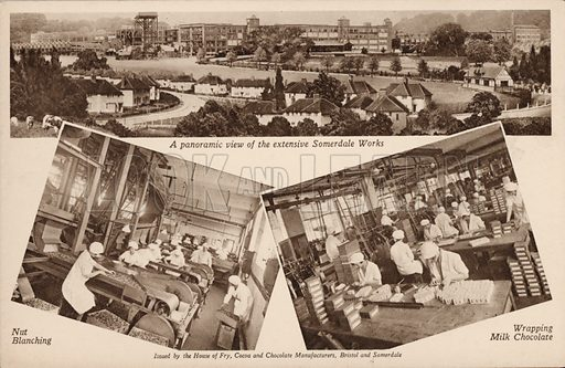 Views of the Somerdale works of chocolate manufacturers, J S Fry and Sons, Keynsham, Somersetl. Postcard, early 20th century.