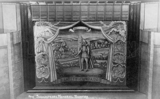Safety curtain at the Shakespeare Memorial Theatre, Stratford-upon-Avon, Warwickshire. Postcard, early 20th century.