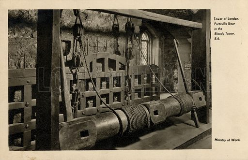 Portcullis gear in the Bloody Tower at the Tower of London. Postcard, early 20th century.