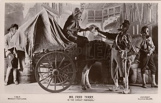 English actor Fred Terry in a production of The Scarlet Pimpernel, 1905. Postcard, early 20th century.