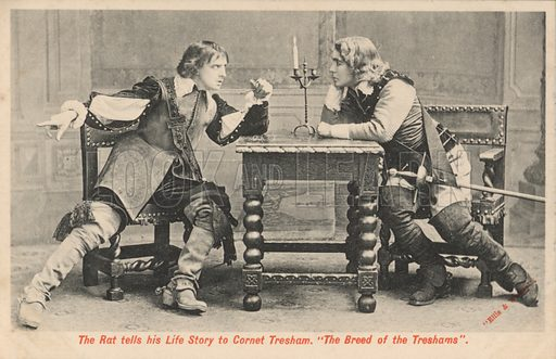 Theatre production of The Breed of the Treshams. Postcard, early 20th century.