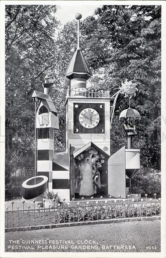 The Guinness Festival Clock, designed by Jan le Witt and George Him for the Festival of Britain, Battersea Festival Gardens, London, 1951. Postcard, early 20th century.