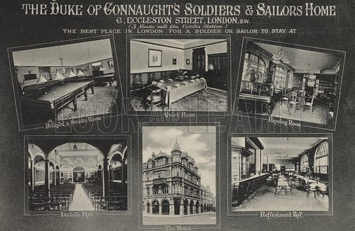Duke of Connaught's Soldiers and Sailors Home, Eccleston Street, London. Postcard, early 20th century.