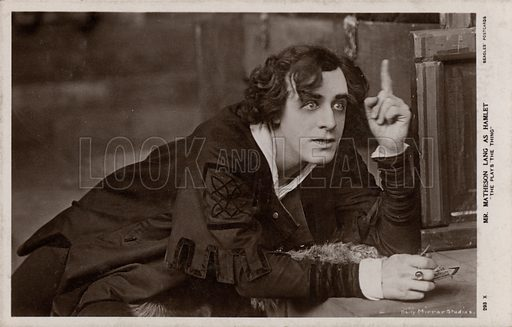 Canadian actor Matheson Lang in the title role in a production of Shakespeare's Hamlet. Postcard, early 20th century.