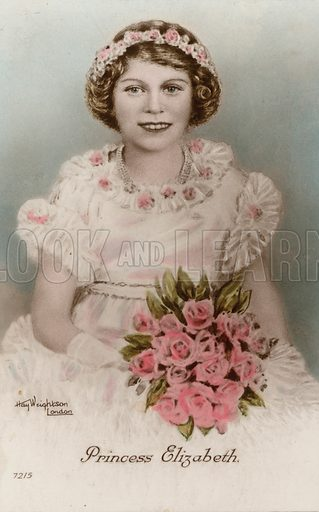 Portrait of Queen Elizabeth II as a young girl. Postcard, early 20th century.