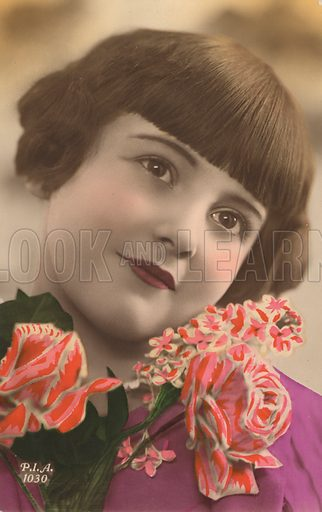 Portrait of a young girl with flowers. Postcard, early 20th century.