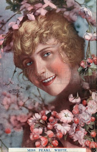 Pearl White (1889-1938), American actress. Postcard, early 20th century.
