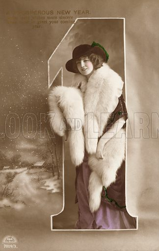 New Year's greetings card with a portrait of a young woman dressed in furs. Postcard, early 20th century.