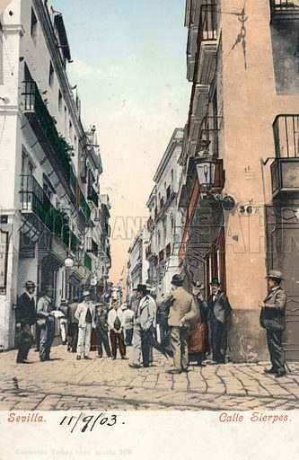 People strolling on the Calle Sierpes, Seville, Spain. Postcard, early 20th century.