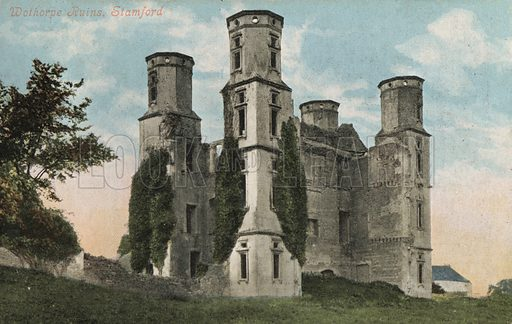 Wothorpe Towers, ruins of a Jacobean lodge, Cambridgeshire. Postcard, early 20th century.