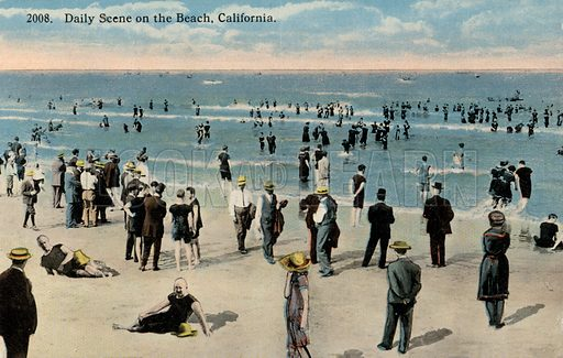People relaxing at the beach, California, USA. Postcard, early 20th century.