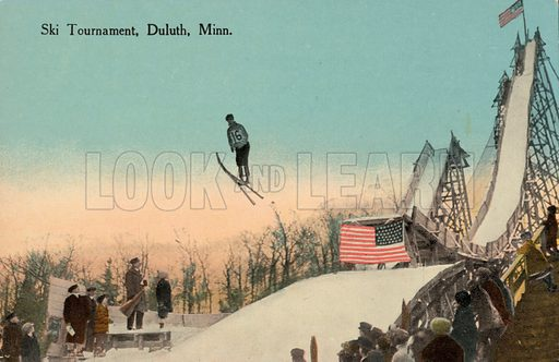 Ski jumping competition, Duluth, Minnesota, USA. Postcard, early 20th century.