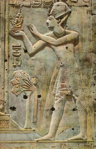 Relief in the ancient Egyptian Temple of Abydos depicting the Pharaoh Seti I making a votive offering of Maat. Postcard, early 20th century.
