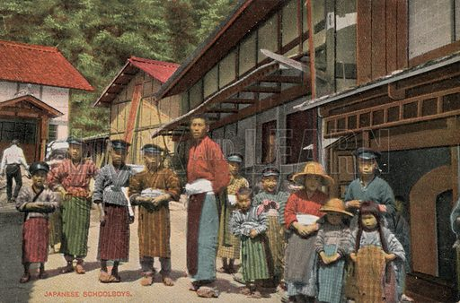 Japanese schoolboys. Postcard, early 20th century.