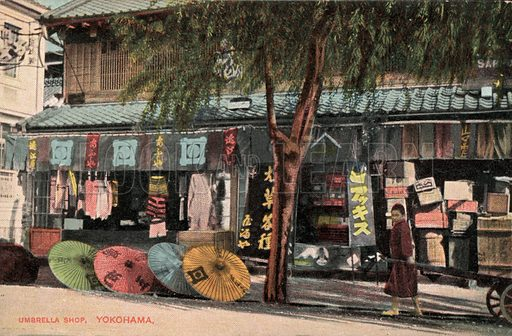 Umbrella shop, Yokohama, Japan. Postcard, early 20th century.