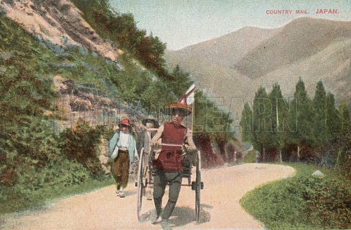 Delivering mail in rural Japan. Postcard, early 20th century.