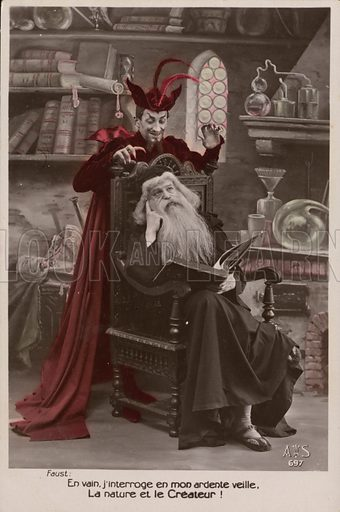A scene from Faust. Postcard, early 20th century.
