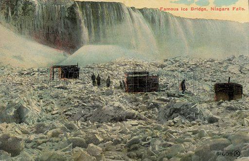 Famous ice bridge at Niagara Falls, New York, USA. Postcard, early 20th century.