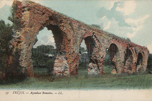 Ruined Roman aqueduct, Frejus, France. Postcard, early 20th century.