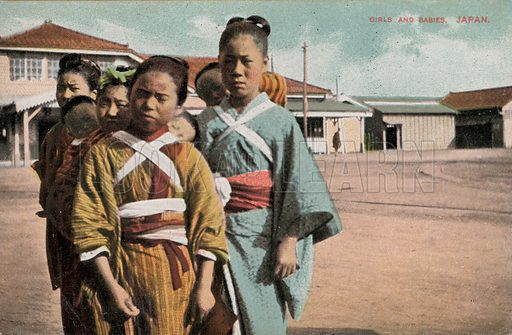 Girls and babies, Japan. Postcard, early 20th century.