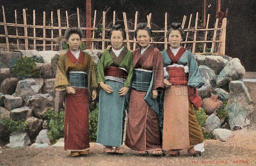 Tea house girls, Japan. Postcard, early 20th century.