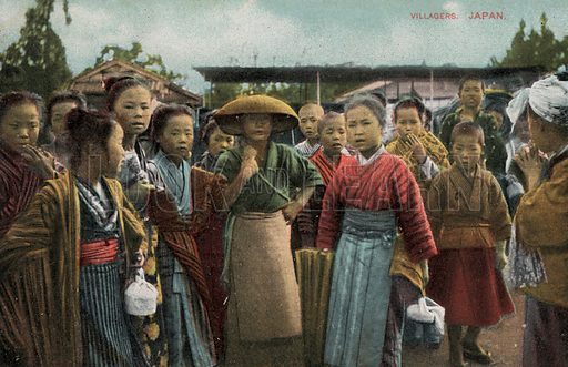 Villagers in Japan. Postcard, early 20th century.