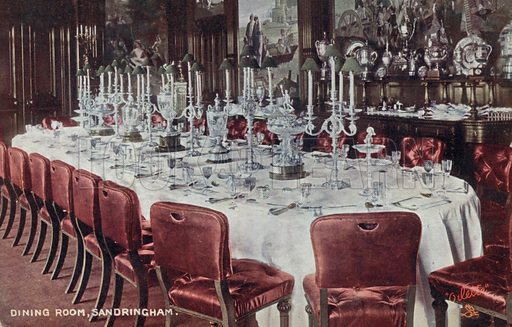 Dining room at Sandringham House, Norfolk. Postcard, early 20th century.