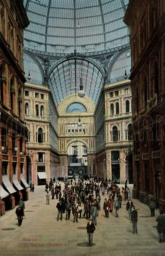 Galleria Umberto I, Naples, Italy. Postcard, early 20th century.