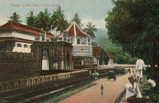Temple of the Holy Tooth, Kandy, Ceylon. Postcard, early 20th century.