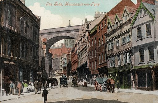 The Side, a medieval street in Newcastle upon Tyne. Postcard, early 20th century.