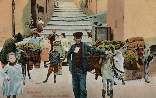Artichoke and water sellers, Gibraltar. Postcard, early 20th century.