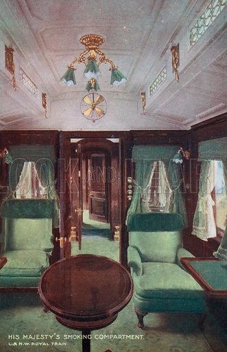 The King's smoking compartment on the royal train on the London & North Western Railway. Postcard, early 20th century.