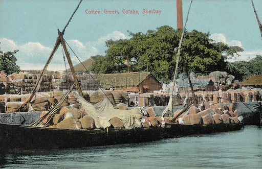 Cotton Green in Colaba, a suburb of Bombay, India. Postcard, early 20th century.