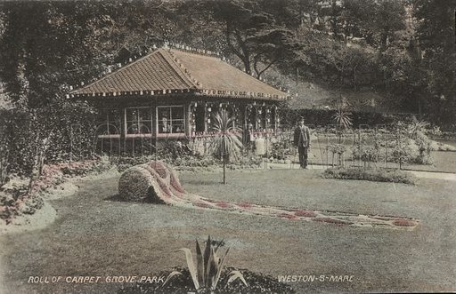 Planting resembling a roll of carpet, Grove Park, Weston-super-Mare, Somerset. Postcard, early 20th century.