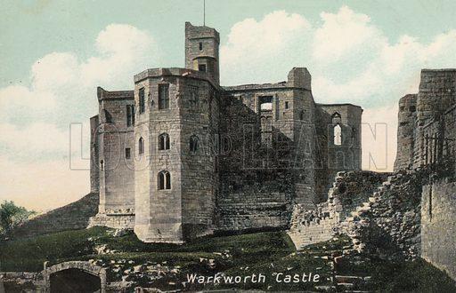Warkworth Castle, Northumberland. Postcard, early 20th century.