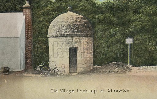 Old village lock-up, Shrewton, Wiltshire. Postcard, early 20th century.